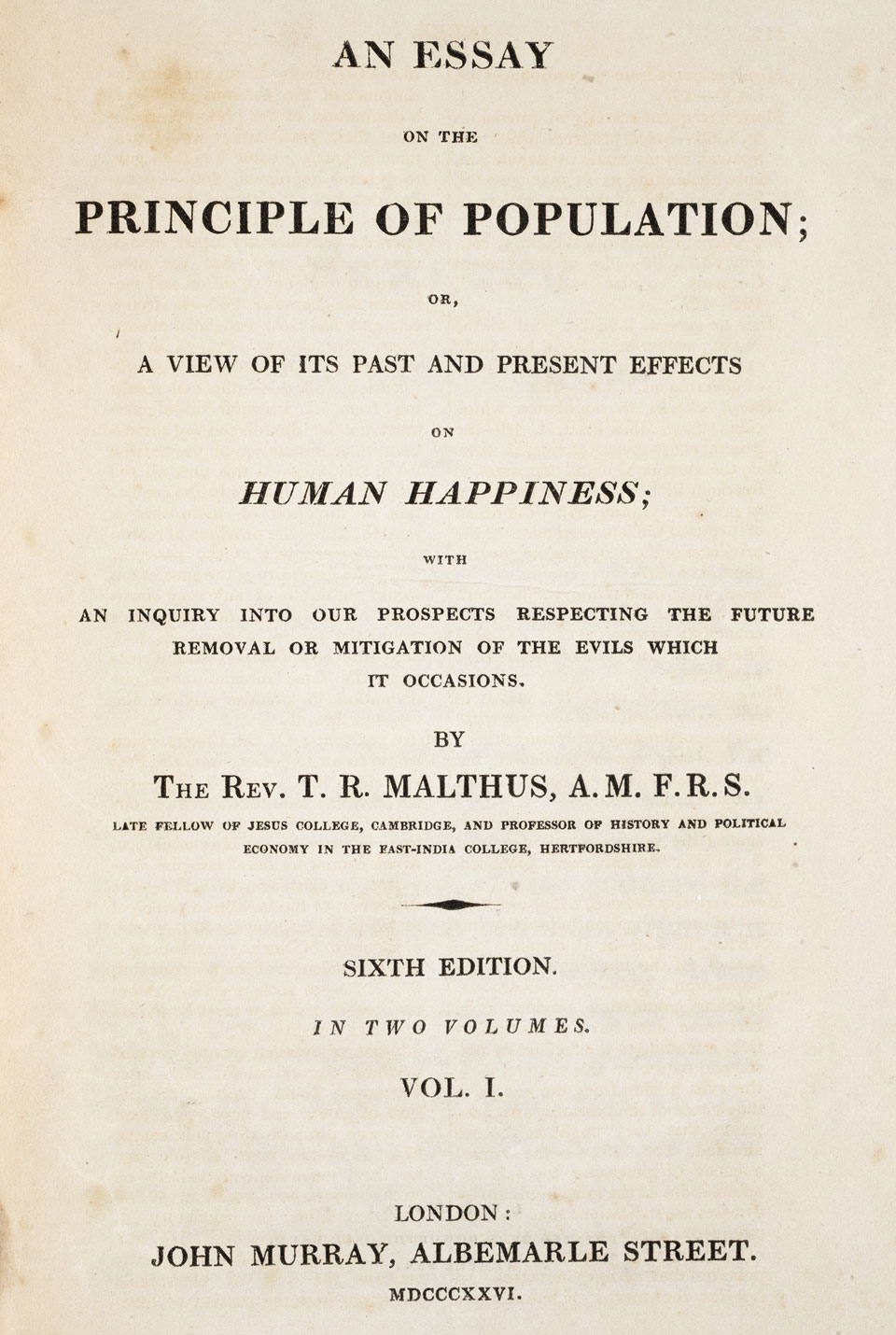 Thomas malthus an essay on the principle of population